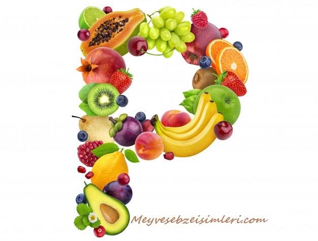 P ile Meyve Sebze Bitki isimleri