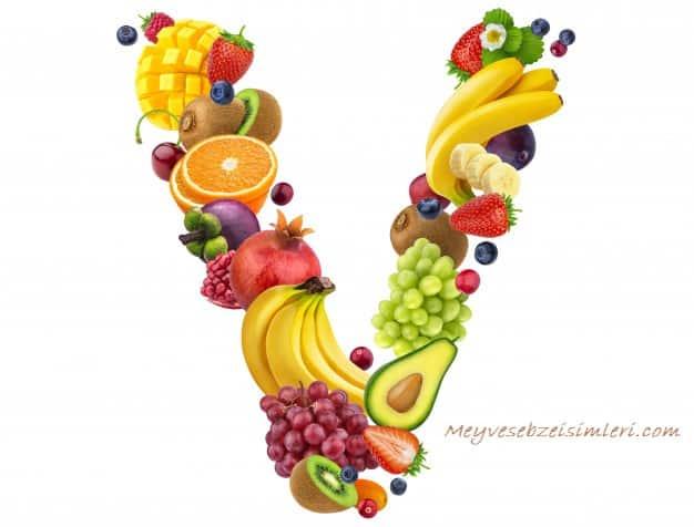 V ile Meyve Sebze Bitki isimleri